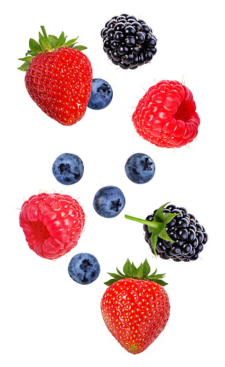 Berries in the air. Falling blackberry, raspberry, blueberry and strawberry fruits isolated on white background 1017631646