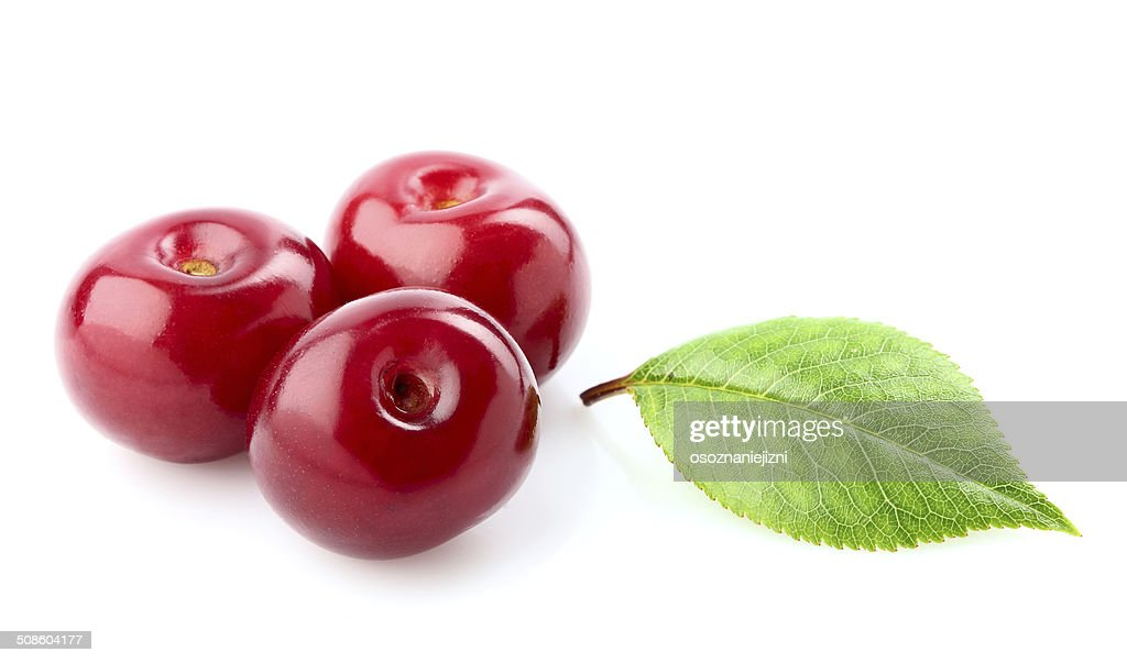 Berries of cherry and leaf. : Stock Photo