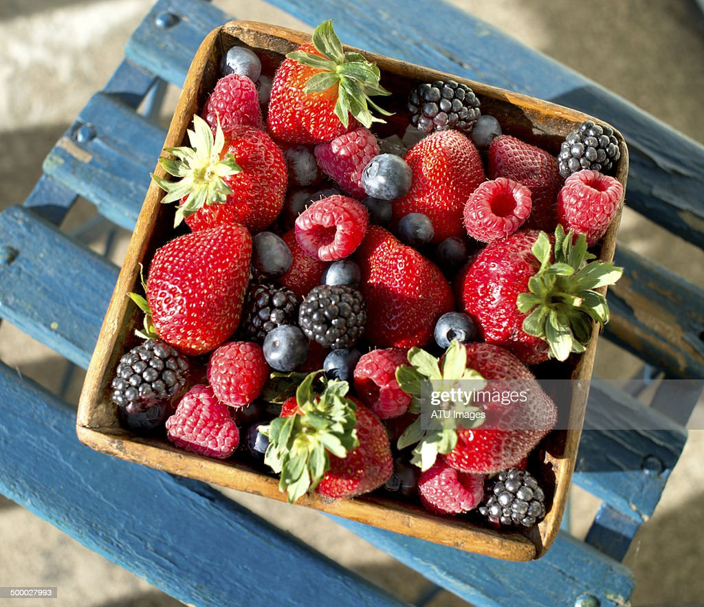 Berries on chair : Stock Photo