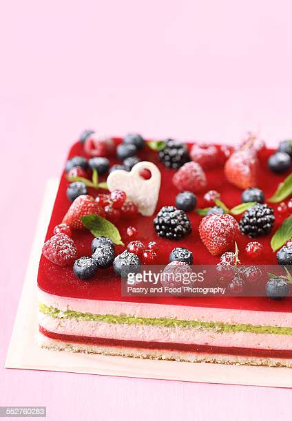 Berry and Pistachio Mousse Cake