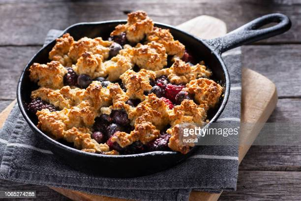 berry cobbler - blackberry fruit stock pictures, royalty-free photos & images