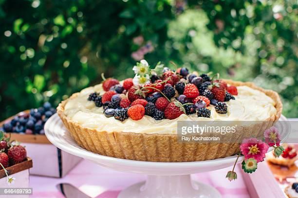 Berry custard pie