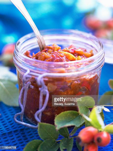 Berry fruit chutney in jar