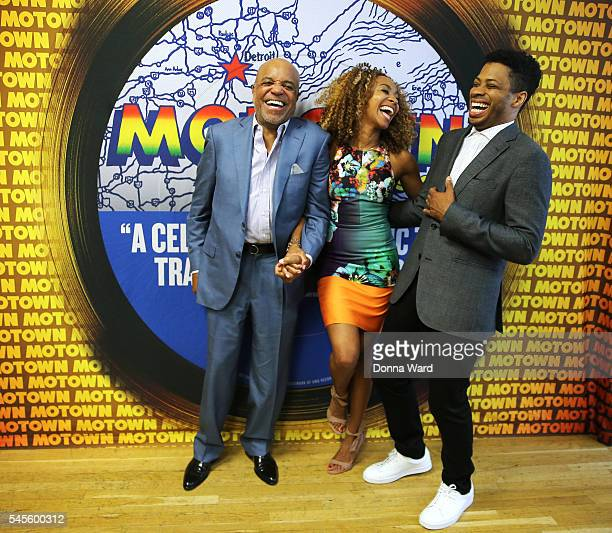 Berry Gordy Allison Semmes and Chester Gregory appear during the Motown The Musical On Broadway Rehearsals at Chelsea Studios on July 8 2016 in New...