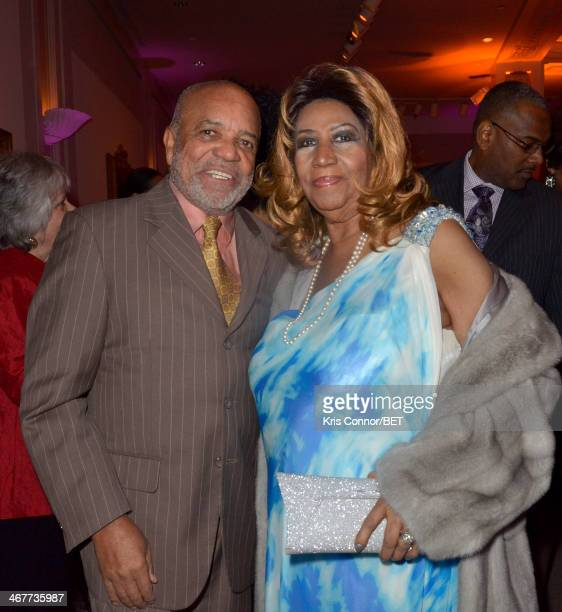 Berry Gordy and Aretha Franklin attend the BET Honors 2014 Debra Lee PreDinner at the National Museum of Women in the Arts on February 7 2014 in...