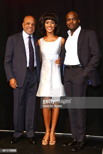 Berry Gordy and cast members Lucy St Louis and Cedric Neal attend the Motown The Musical photocall at The Hospital Club on October 5 2015 in London...