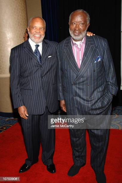 Berry Gordy and Clarence Avant during Sheryl Crow Presents Former President Bill Clinton with The Humanitarian of the Year Award and Clarence Avant...