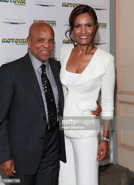 Berry Gordy and Eskedar Gobeze attend Motown The Musical Broadway Spring Launch Event at Nederlander Theatre on September 27 2012 in New York City