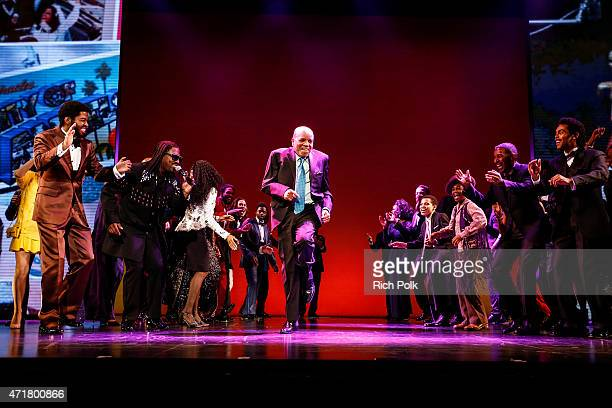 """Berry Gordy dances on stage with the cast at """"MOTOWN THE MUSICAL"""" at the Pantages Theatre on April 30, 2015 in Hollywood, California."""
