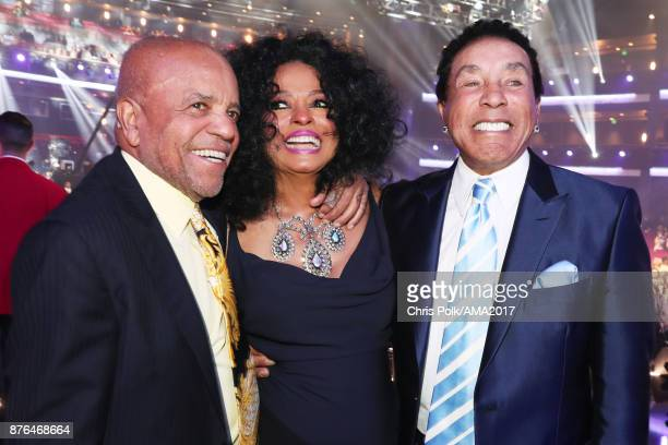 Berry Gordy Diana Ross and Smokey Robinson the 2017 American Music Awards at Microsoft Theater on November 19 2017 in Los Angeles California