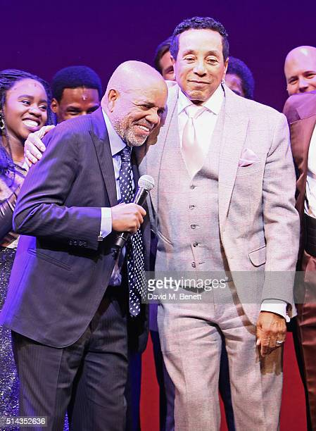 "Berry Gordy , founder of the Motown record label, and Smokey Robinson bow at the curtain call during the press night performance of ""Motown The..."