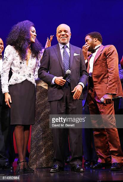 Berry Gordy , founder of the Motown record label, bows at the curtain call with cast members Lucy St Louis and Cedric Neal during the press night...