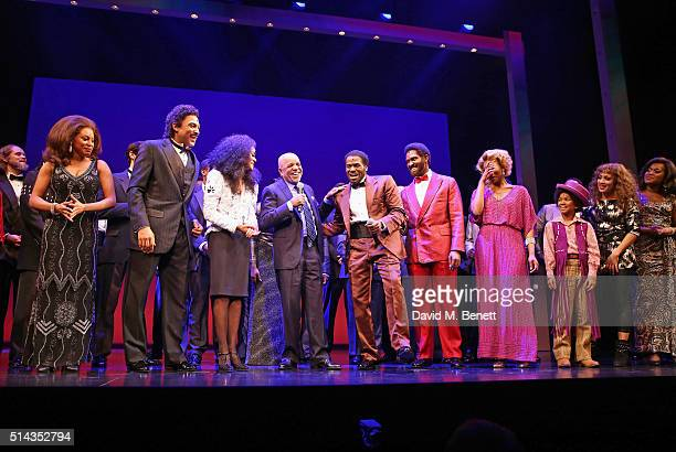 Berry Gordy founder of the Motown record label bows at the curtain call with cast members Cherelle Williams Portia Harry Charl Brown Lucy St Louis...