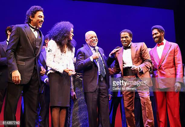 Berry Gordy founder of the Motown record label bows at the curtain call with cast members Charl Brown Lucy St Louis Cedric Neal and Sifiso Mazibuko...