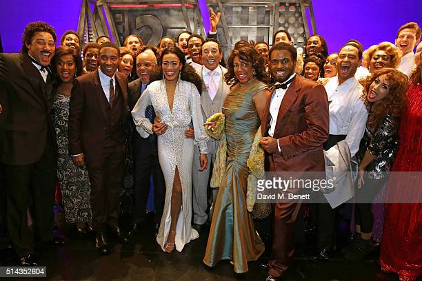 Berry Gordy , founder of the Motown record label, Smokey Robinson and Mary Wilson pose onstage with cast members including Charl Brown, Lucy St Louis...