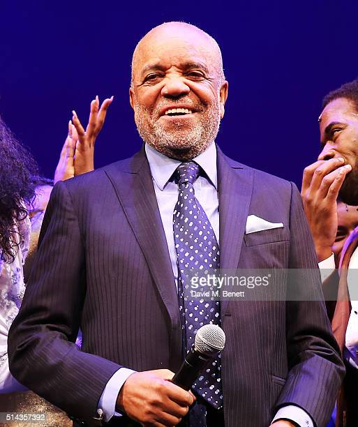 Berry Gordy founder of the Motown record label speaks during the curtain call at the press night performance of Motown The Musical at The Shaftesbury...