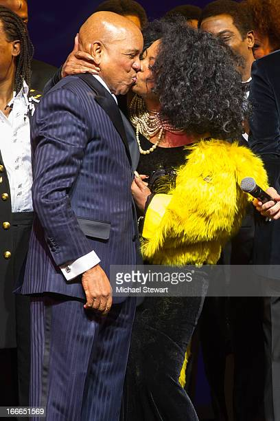 """Berry Gordy Jr. And Diana Ross attend the Broadway opening night for """"Motown: The Musical"""" at Lunt-Fontanne Theatre on April 14, 2013 in New York..."""