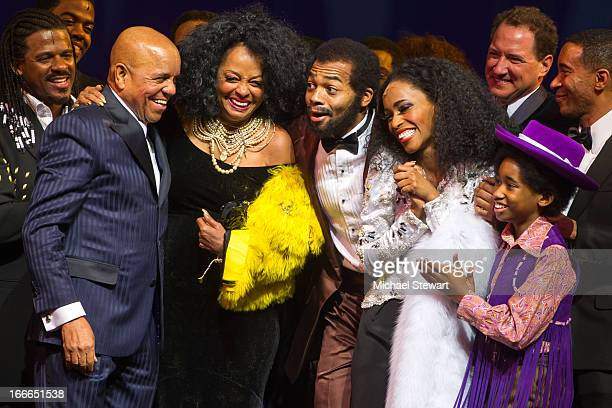 Berry Gordy Jr Diana Ross Brandon Victor Dixon Jalisia DeKae and Raymond Luke Jr attend the Broadway opening night for 'Motown The Musical' at...