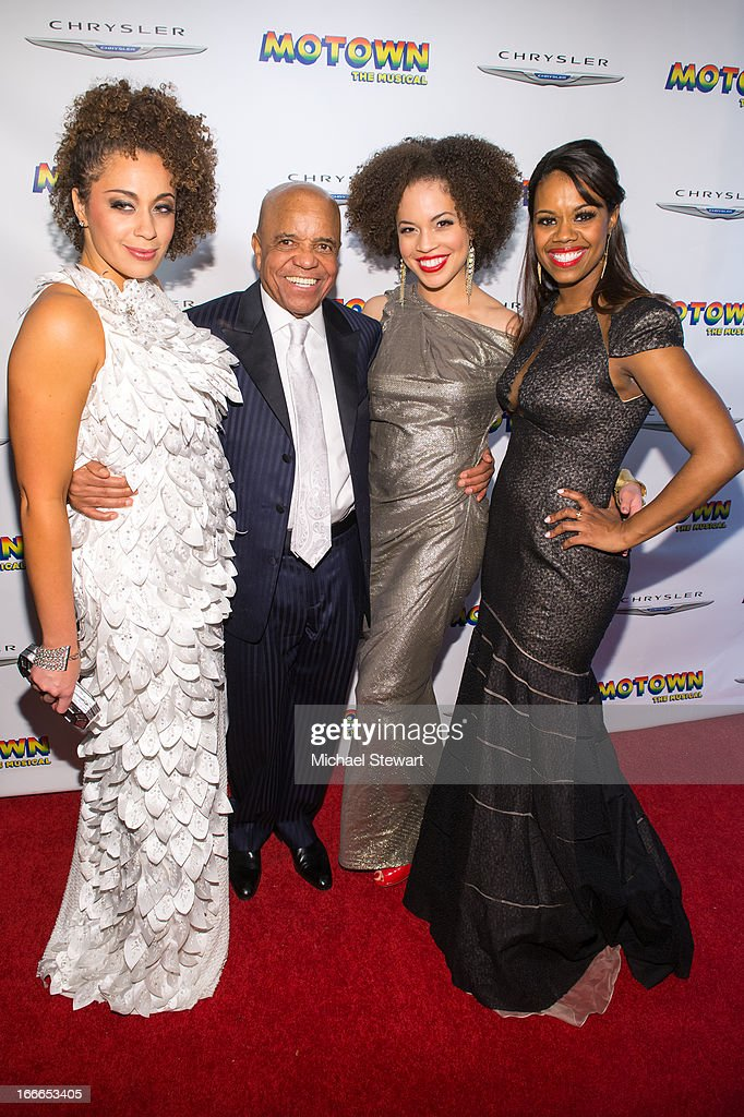 Berry Gordy Jr. (Center L) with actresses attend the after party for the Broadway opening night for 'Motown: The Musical' at Roseland Ballroom on April 14, 2013 in New York City.