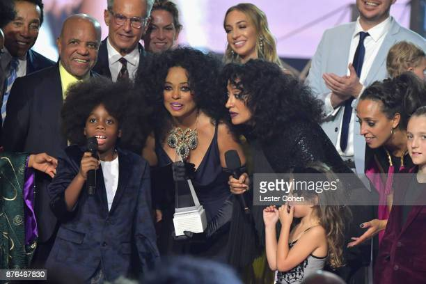 Berry Gordy RaifHenok Emmanuel Kendrick Diana Ross and host Tracee Ellis Ross onstage during the 2017 American Music Awards at Microsoft Theater on...