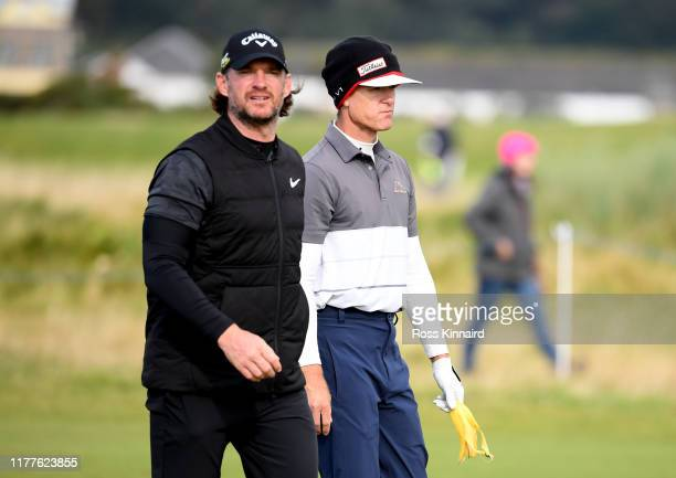 Berry Henson of The United States and Liam Botham on the 5th hole during Day three of the Alfred Dunhill Links Championship at Carnoustie Golf Links...