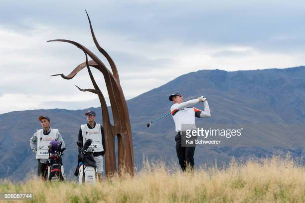 Berry Henson of the United States tees off during day two of the ISPS Handa New Zealand Golf Open at The Hills Golf Club on March 2 2018 in...