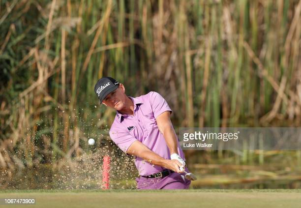 Berry Henson of The USA plays a shot during Day Five of the European Tour Qualifying School Final Stage at Lumine Golf Club on November 14 2018 in...
