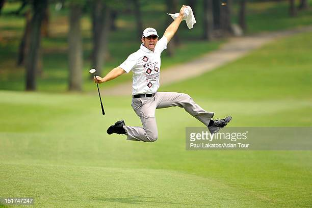Berry Henson of USA celebrates a shot during the Pro-am event ahead of the Yeangder Tournament Players Championship at Linkou lnternational Golf and...