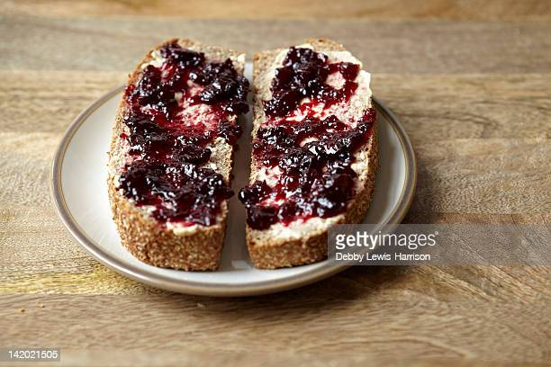 Berry jam on rustic bread