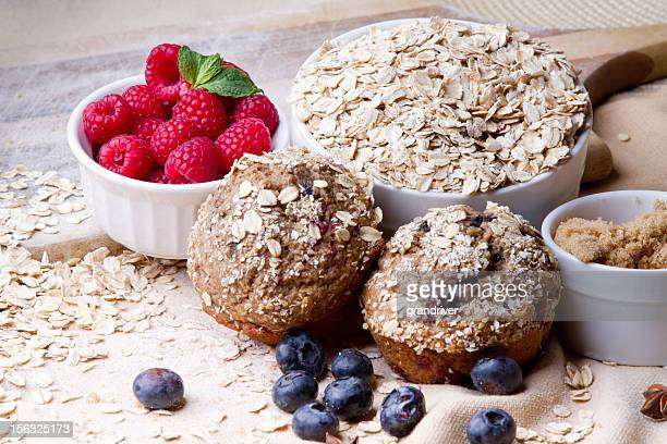 Berry Muffins Arranged with Fresh Ingredients