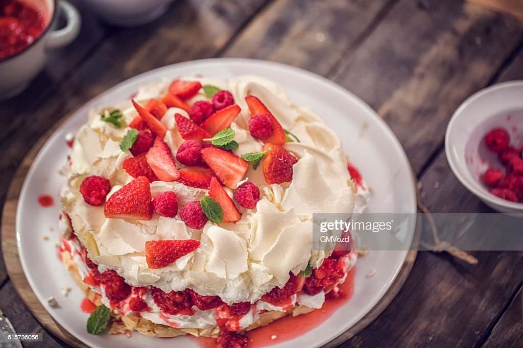 Berry Pavlova Cake with Strawberries and Raspberries : Stock Photo