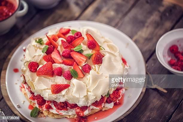 Berry Pavlova Cake with Strawberries and Raspberries