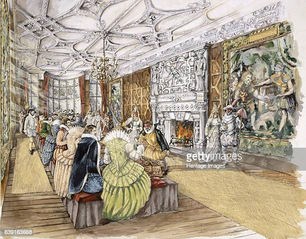 Berry Pomeroy Castle, c1600, . Reconstruction drawing of the Great Chamber with a masque taking place. Berry Pomeroy Castle, a Tudor mansion within...