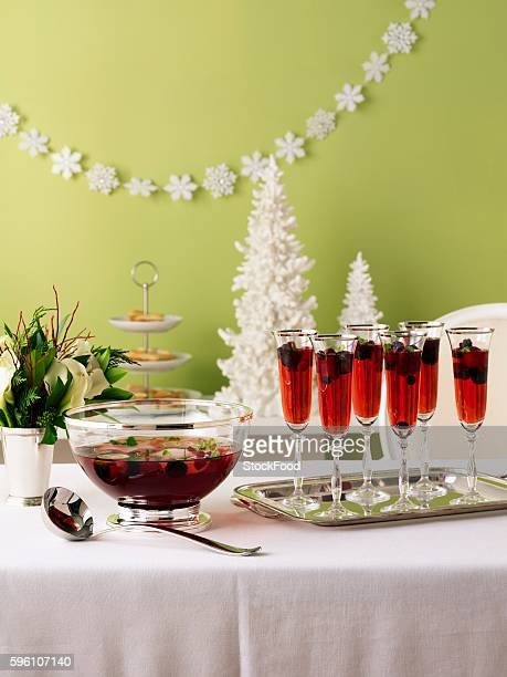 Berry punch on a Christmas buffet table