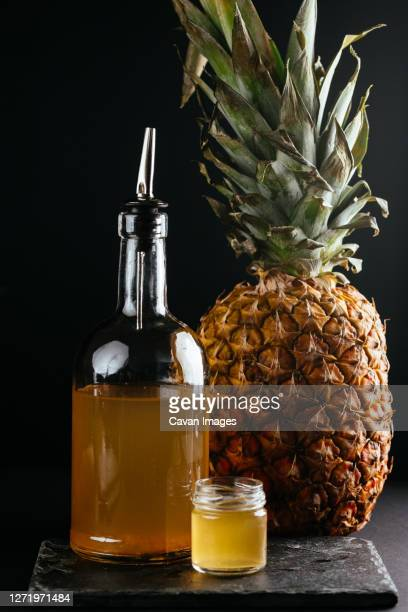 berry tinctures in shorts with fruit and berries on the backgrou - bromeliaceae stock pictures, royalty-free photos & images