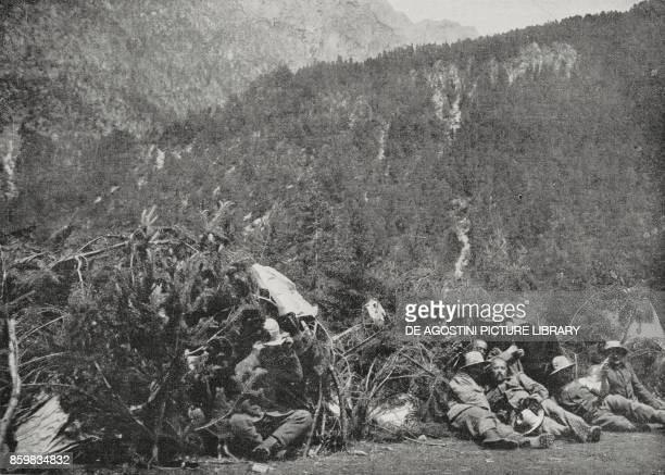 Bersaglieri in tents protected by pine branches to hide from enemy planes Italian troops at the front Italy World War I from L'Illustrazione Italiana...