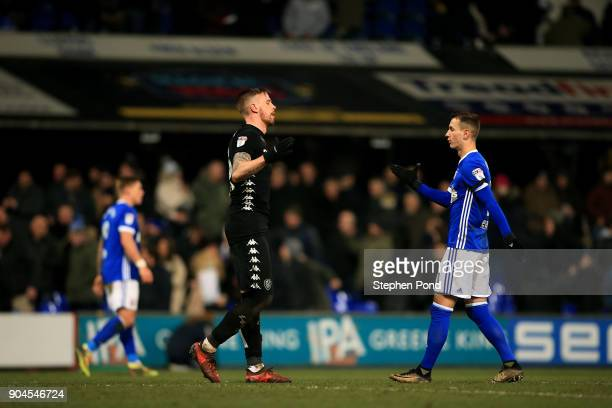 Bersant Celina of Ipswich Town and Pontus Jansson of Leeds United embrace after the Sky Bet Championship match between Ipswich Town and Leeds United...