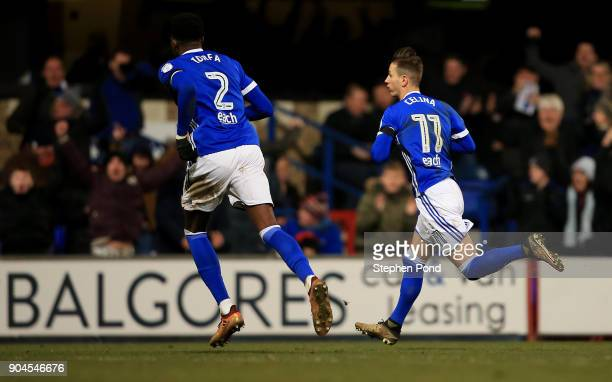 Bersant Celina of Ipswich Town celebrates scoring during the Sky Bet Championship match between Ipswich Town and Leeds United at Portman Road on...