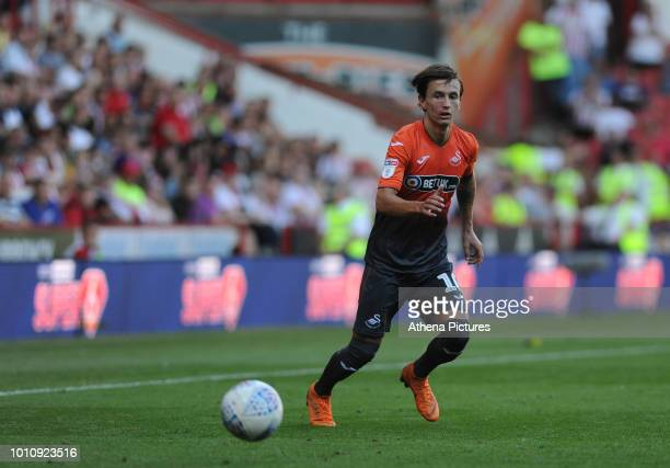 Bersant Celina of Swansea City controls the ball during the Sky Bet Championship match between Sheffield United and Swansea City at Bramall Lane on...