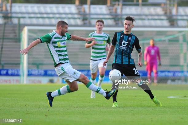 Bersant Celina of Swansea City in action during the pre season friendly match between Yeovil Town and Swansea City at Huish Park on July 16, 2019 in...
