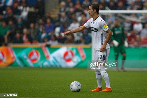 Bersant Celina of Swansea City in action during the Sky Bet Championship match between Swansea City and Preston North End at the Liberty Stadium on...