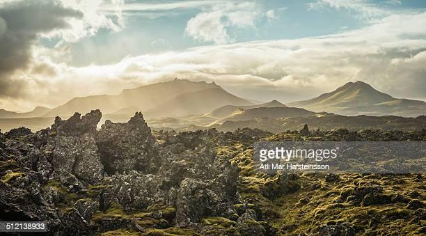 berserkjahraun lava field, snaefellsnes, iceland - extremlandschaft stock-fotos und bilder