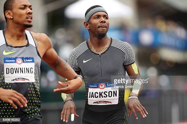 Bershawn Jackson competes in the Men's 400 Meter Hurdles SemiFinal during the 2016 US Olympic Track Field Team Trials at Hayward Field on July 8 2016...
