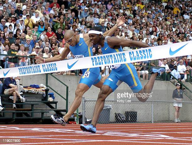 Bershawn Jackson edges James Carter to win the 400meter intermediate hurdles 4791 to 4795 in the 31st Prefontaine Classic at the University of...