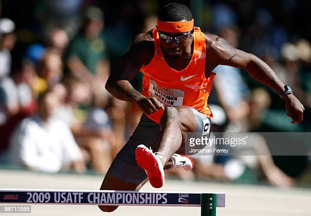 Bershawn Jackson runs in the 400-meter hurdles semifinal during day 2 of the USA Track and Field National Championships on June 26, 2009 at Hayward...