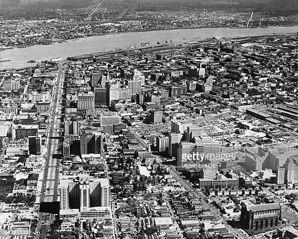 Übersicht New Orleans l Canal Street hinten der Mississippi 1954