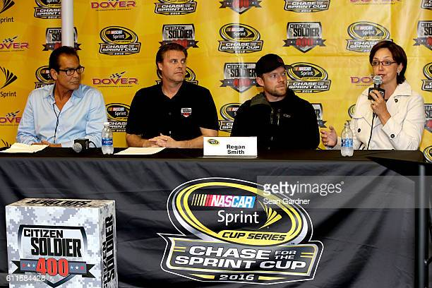 Bert Bedrosian Christian Tureaud Regan Smith driver of the Citizen Soldier Chevrolet and Wendy Anderson speak to the media during a press conference...