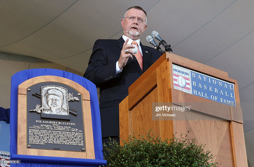 Bert Blyleven gives his speech at Clark Sports Center during the Baseball Hall of Fame induction ceremony on July 24, 2011 in Cooperstown, New York. Blyleven finished his 22 season career with 3,701 strikeouts (fifth on the all-time list) and 287 wins including 60 shutouts and 242 complete games.
