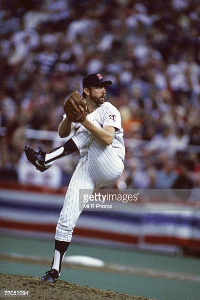 Bert Blyleven of the Minnesota Twins winds up for a pitch during game two of the 1987 World Series against the St Louis Cardinals at the Metrodome on...