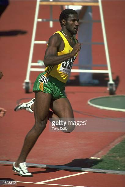 Bert Cameron of Jamaica in action during the 400 Metres event at the 1982 Commonwealth Games in Brisbane Australia Mandatory Credit Tony...